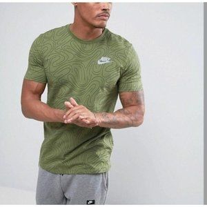 Nike Green Abstract Athletic Cut Tee XL